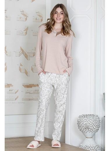 Hays Saten Yaka Detaylı Pijama Takımı Pembe